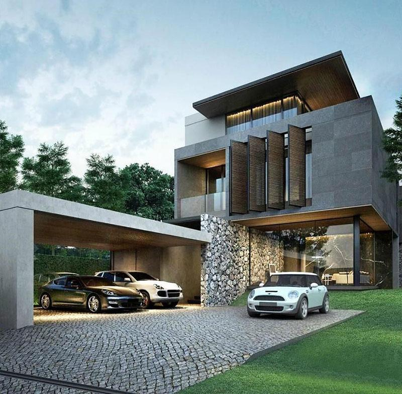 Summer House Transformed Into A Modern Elegant Residential Project House Ab In Austria further Sodoben Nadstresek Za Avto furthermore Model Rumah Hook 2 Lantai further 88 together with Modern Garage Doors Personality. on luxury carport designs