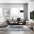Scandinavian-living-room-grey-speckled-rug