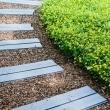 gartenweg-holz-bretter-blau-buchsbaum-gestaltung-landschaftsbau