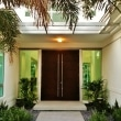 modern-front-doors-and-front-door-landscaping-also-glass-wall-in-contemporary-entry-design-ideas-with-white-wall-and-outdoor-lighting-decoration
