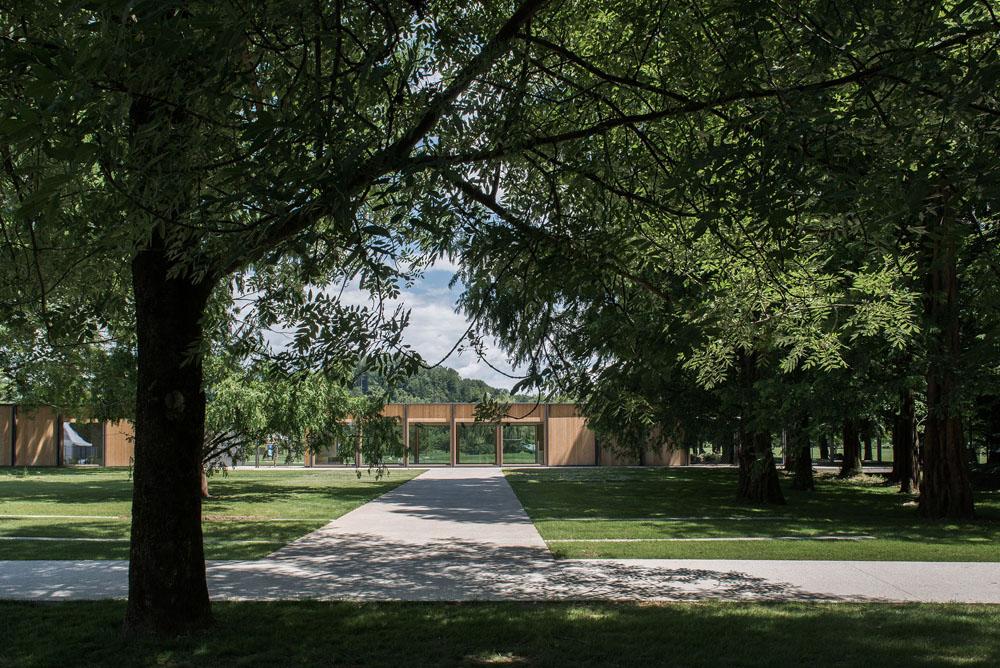 Vstopni paviljon v Arboretum Vočji potok, ARREA