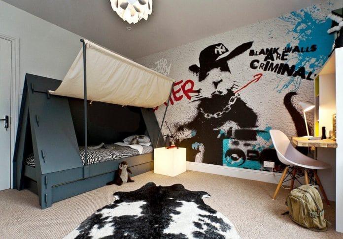 grafiti v interierju